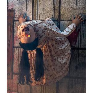 ハロウィン 怖い  血だらけ少女 人形  目が光る LED ゾンビ お化け屋敷 装飾 飾り インテリア 恐怖 ホラー おもちゃ グッズ|acomes