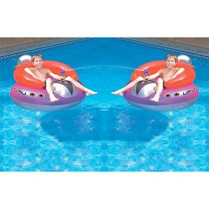 水遊び  UFO フロート 2個セット  レトロ スタイル 水鉄砲 付き 遊具 浮き輪 プール 海 インスタ acomes