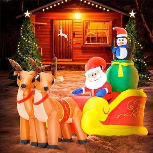 クリスマス 飾り 膨らむ ライトアップ トナカイ&サンタ イルミネーション 屋内外 庭 デコレーション 180cm|acomes