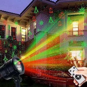 クリスマス 飾り LED ライトアップ プロジェクター 5パターン イルミネーション リモコン スポットライト 屋外 防水|acomes