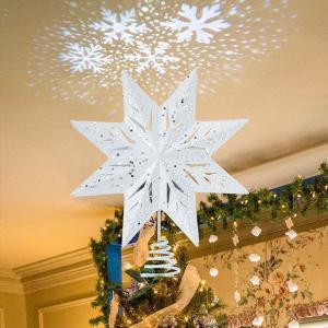 クリスマス 飾り LED ライトアップ クリスマスツリートッパー スノーフレークプロジェクターライト付き|acomes