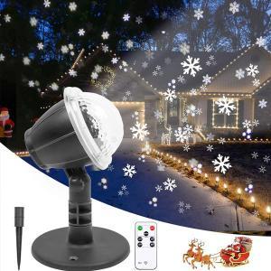 クリスマス 飾り LED ライトアップ プロジェクター スノーフレーク 雪 イルミネーション 降雪 リモコン スポットライト 屋外 屋内 防水|acomes