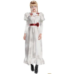 アナベル 死霊博物館 死霊館の人形 大人用 コスチューム ウィッグ ブロンド コスプレ 衣装  変装 ハロウィン Annabelle acomes