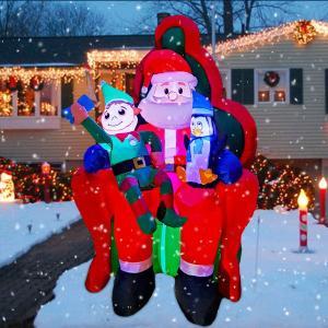 クリスマス 飾り サンタさん 1.8m デコレーション   LEDライト インフレータブル   膨らます イベント パーティー 庭 デコレーション 屋外装飾 エルフ ペンギン|acomes
