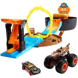 おもちゃ 車 ホットウィール モンスタートラック スタントタイヤ プレイセット ミニカー付き 子供 ...