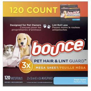 乾燥機 シート 梅雨対策 消臭 芳香 バウンス フレッシュな香り 120枚  柔軟剤 糸くず&ペットヘアガード Bounce ペットの毛がつきにくい 海外 acomes