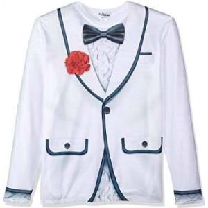 おもしろ フェイク デザイン タキシード スーツ ジャケットプリント 長袖 だまし絵 コスプレ パーティ 変装 仮装  父の日 ハロウィン|acomes