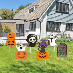 ハロウィン 装飾 屋外 庭 看板 6個 ハロウィーン カボチャ ゴースト RIP パンプキン デコレーション 飾り付け パーティ|acomes