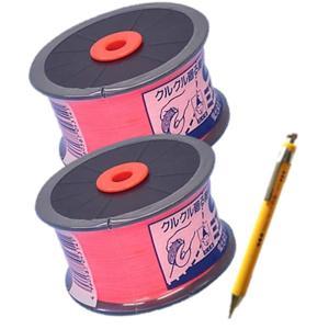 ミエール水糸軸付リール巻き 細(0.5mm)オレンジ500m 2個セット シャーペン付