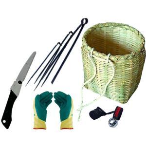 竹製万能腰かご 収穫用セット(折込鋸・つかみバサミセット・熊よけ鈴・ソフトグリップ手袋付き)