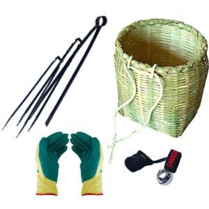 竹製万能腰かご 収穫用セット(つかみバサミセット・熊よけ鈴・ソフトグリップ手袋付き)