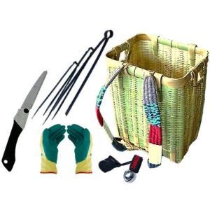 竹製角型背負いかご収穫用セット(折込鋸・つかみバサミセット・熊よけ鈴・ソフトグリップ手袋付き)