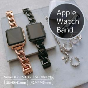 Apple Watch (アップルウォッチ) チェーンバンド/ベルト ブラック・ピンクゴールド