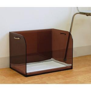 犬トイレ おしゃれ 飛び散り はみ出し防止 ダブルワイドシート アクリル『犬トイレ(ダブルワイドサイズ・取手付き)横長_ブラウンスモーク』【代引不可】|acry-ya