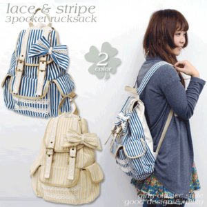 リュック リュックサック レディース 森ガール ストライプ 可愛い かわいい 帆布 リュックサック|actionbag