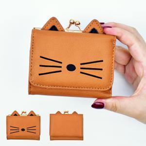 財布 キャット フェイス がま口 三つ折り 財布|actionbag
