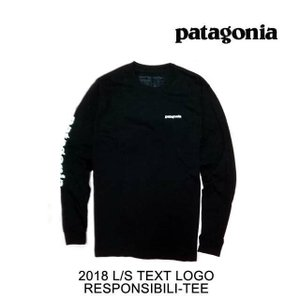 2018 PATAGONIA パタゴニア Tシャツ LONG-SLEEVED TEXT LOGO COTTON/POLY RESPONSIBILI-TEE BLK BLACK