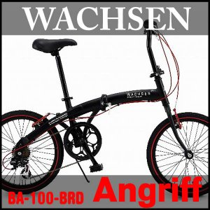 WACHSEN BA-100 Angriff / ブラック/レッド / ヴァクセン 20インチ アルミ折り畳み自転車6段変速 アングリフ|ad-cycle