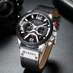 腕時計 メンズ CURREN 防水高級レザースポーツウォッチ クロノグラフ カレンダー ファッション プレゼント ギフト