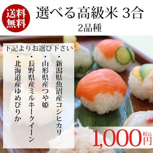 送料無料 ポイント消化 1000 食品 お試し お米 3合 選べる高級米2品種 魚沼コシヒカリ つや姫 ミルキークイーン ゆめぴりか|adachinet-umai