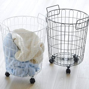 ランドリーバスケット おしゃれ キャスター付き 丸 ワイヤーバスケット 洗濯カゴ ランドリー収納 白 黒 脱衣かご ランドリーかご|adachiseisakusyo