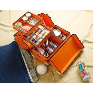 タイムボイジャー コレクションバッグM ビターオレンジ コスメボックス メイクボックス シューケア用品 靴磨き 収納|adachishiki