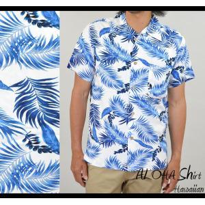 アロハシャツ メンズ ハワイ 白 07 ハワイアン柄 ボタニカル柄 アロハ ユニフォーム 大きいサイズ 春 夏|adamas