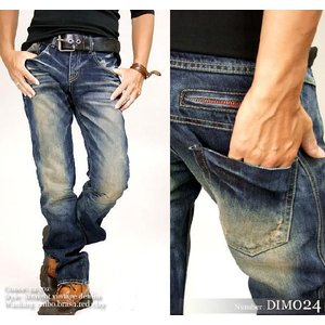 DIM024 ジーンズ メンズ/ジーンズ ダメージ/ユーズドUSED加工/ダメージジーンズ メンズ/デニムパンツ/ジーパン/JEANS/クラッシュ デニム/ビンテージ ジーンズ adamas