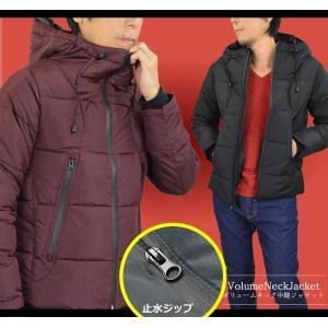 中綿 ジャケット メンズ ジャケット はおり 暖かい フェイク ダウンジャケット ボリュームネック ライト 止水ジップ 秋冬|adamas