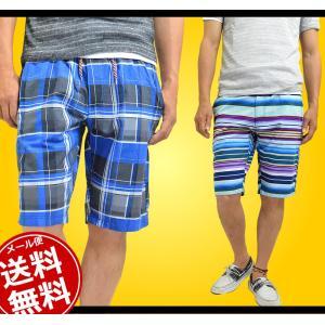 ハーフ ショートパンツ メンズ ハーフパンツ ボーダー チェック 短パン 半ズボン|adamas