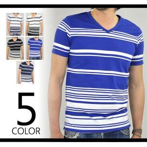 Tシャツ 半袖 メンズ Vネック ボーダー 半袖Tシャツ マリンボーダー カットソー 春 夏 秋|adamas