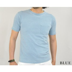 Tシャツ メンズ 半袖 無地 インディゴ ポケット付き インディゴ染め  半袖Tシャツ カットソー かっこいい 春 夏 秋|adamas