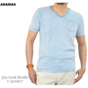 Tシャツ メンズ 半袖 Vネック ポケット付き 半袖Tシャツ 無地 カットソー インディゴ染め ビンテージ加工 カットソー かっこいい 春 夏 秋|adamas