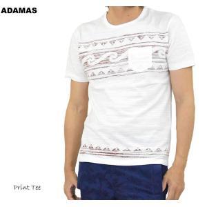 Tシャツ 半袖 メンズ 綿100% スラブ生地 サーフプリント 白 半袖Tシャツ カットソー おしゃれ 春 夏 秋|adamas