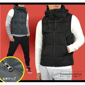 中綿ベスト メンズ ジャケット はおり 暖かい フェイク ダウンベスト ボリュームネック パーカー ライト 止水ジップ 軽量 秋冬|adamas