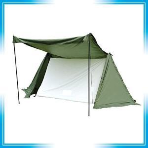 テント ツーリングテント ソロテント パップテント ソロキャンプ 軍幕 炎幕 2人用 スカート付き 春、夏、秋、の画像