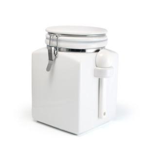 ZEROJAPAN スクエアキャニスターL ホワイト 陶製スプーン付|adecre