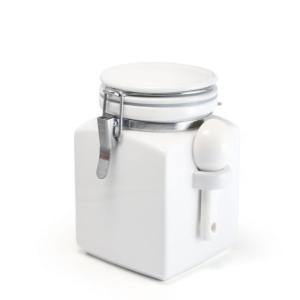 ZEROJAPAN スクエアキャニスターM ホワイト 陶製スプーン付|adecre