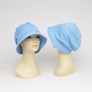 医療用帽子  おしゃれ 脱毛 帽子 カットソーふっくらハット ブルー
