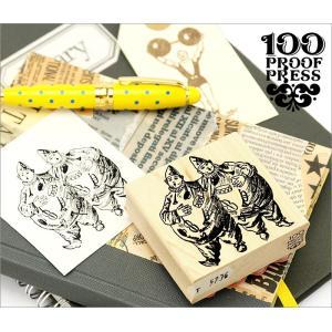 100 Proof Press #5736 ピエロ Siamese Clowns スタンプ アンティーク adesso-nip