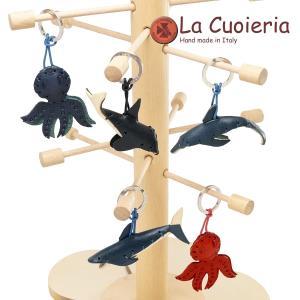 キーホルダー ラ クオイエリア La Cuoieria レザーキーホルダー イルカ シャチ サメ クジラ タコ 海の生物 adesso-nip
