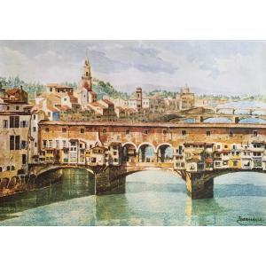 ポスター ヴェッキオ橋 イタリア アートポスター I.F.I 50×70 Firenze Ponte...
