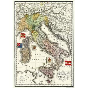 ポスター 古地図 イタリア I.F.I  ポスター 50×70 MAPPA ITALIA CR001...