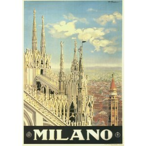 ポスター イタリア ミラノ  I.F.I ポスター 50×70 MILANO CR088 ミラノ大聖...