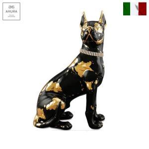 イタリア製 置物 動物 犬 陶器 24金メッキ スワロフスキー italy-im4-1121kn