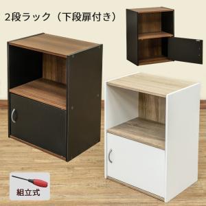 2段ラック 扉1枚つき シンプルラック 本棚 収納 ブラック ホワイト 送料無料 hmp22の商品画像 ナビ
