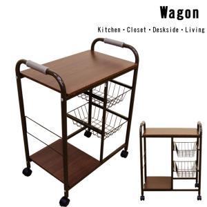 ワゴン カゴ棚付キッチン ミニテーブル キャスター UYS-07の写真