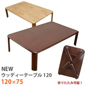 折りたたみテーブル 120cm×75cm 天然木製 座卓 WZ-1200の写真
