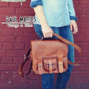 レトロな学生鞄 Sサイズ ショルダーバッグ ■CAR-30Sブラウン PAUL MARIUS/ポール・マリウス/A4/本革/ナチュラル/バッファローレザー adhoc