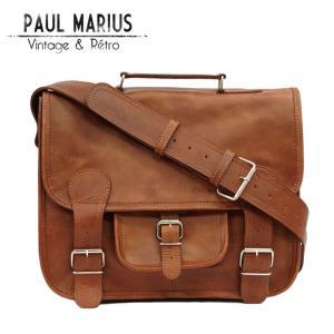 レトロな学生鞄 Mサイズ ショルダーバッグ ■CAR-35Mブラウン PAUL MARIUS/ポール・マリウス/A4/本革/ナチュラル/バッファローレザー adhoc